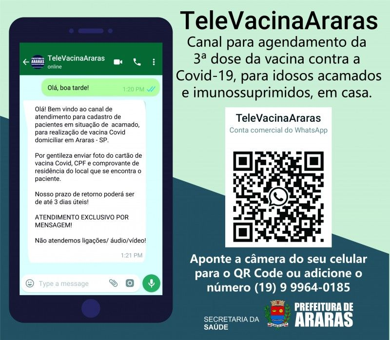 Secretaria de Saúde de Araras cria TeleVacinaAraras para pacientes acamados