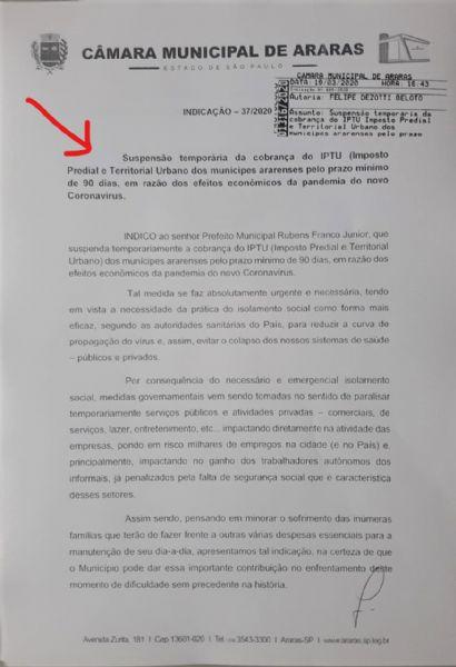 Vereador Beloto solicita a suspensão do pagamento do IPTU